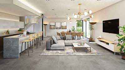 open plan dining, kitchen and lounge render
